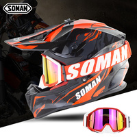 Soman Motocross Helmet with Dirt Bike Goggles Motorcycle Cycling Helm Professional Casco Racing ECE Glasses Wearable