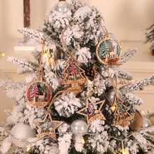 6PCS Wooden Christmas Series Pattern Christmas Round Hanging Ornament Charm Scrapbooking Handmade Accessory Home Decoration(China)
