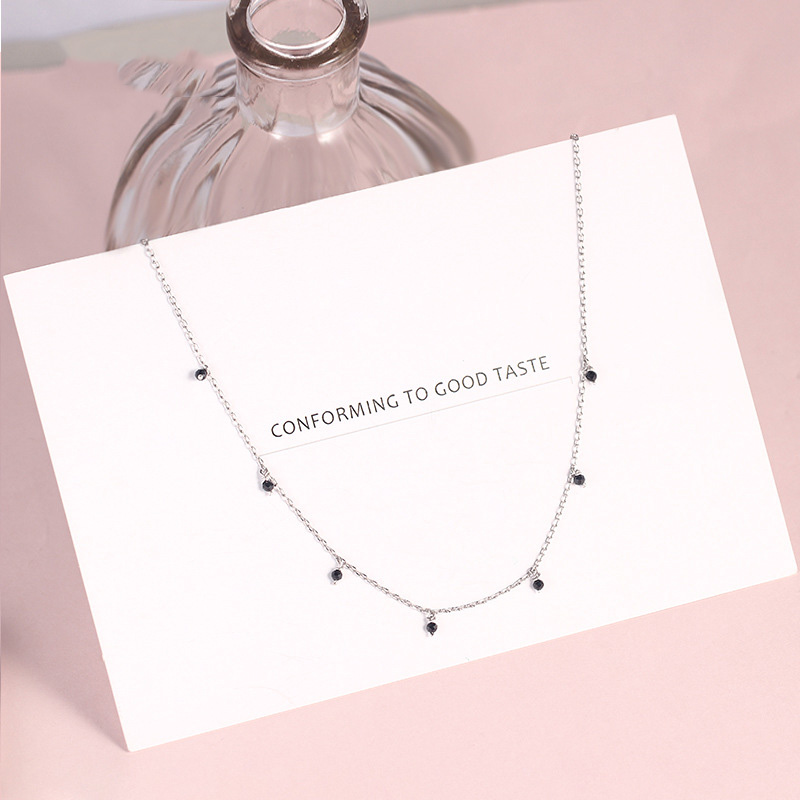 925 Sterling Silver Choker Necklace For Women Japanese Style Girls Black Bead Short Clavicle Charm Necklaces Fine S925 Jewelry