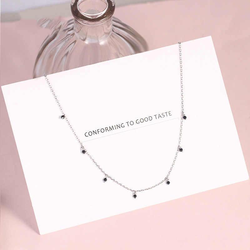 925 en argent Sterling collier ras du cou pour femmes Style japonais filles noir perle courte clavicule breloque colliers Fine S925 bijoux