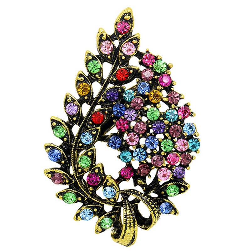 Ассорти цветов красный кофе синий и фиолетовый Кристалл Стразы цветок лист брошь булавки в античном винтажном стиле