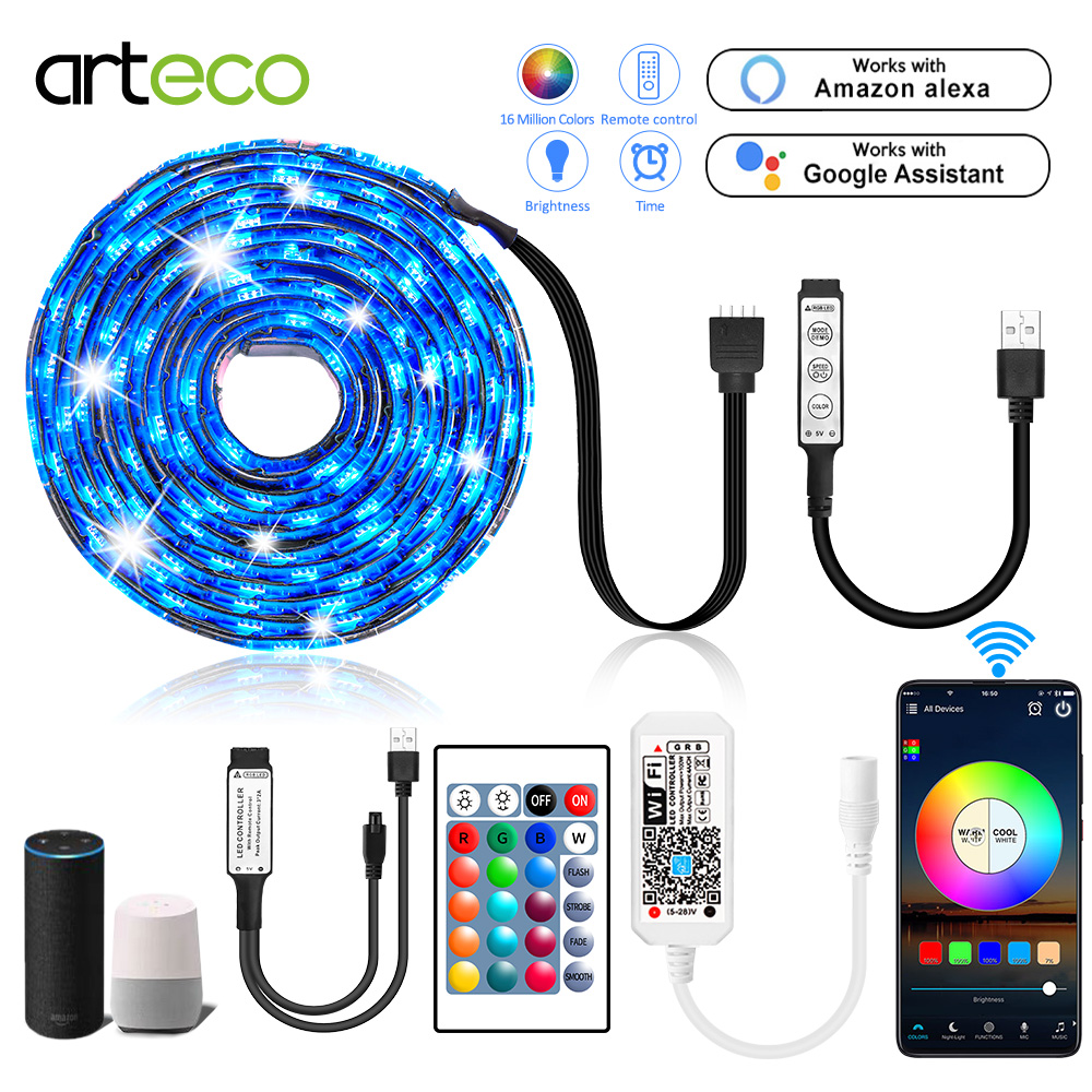 <font><b>5V</b></font> Wifi <font><b>Led</b></font> Strip <font><b>5050</b></font> Flexible USB <font><b>Led</b></font> Strip Waterproof RGB Tape <font><b>Led</b></font> Ribbon TV Backlight With Remote 24Key 3Key Wifi Control image