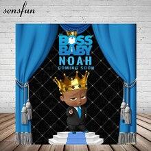 Sensfun Boss bébé douche 1st fête danniversaire toile de fond pour garçons bleu Royal rideau petits hommes arrière plans pour Studio Photo 7x5FT