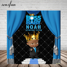 Sensfun Boss telón de fondo para fiesta de cumpleaños de niño, cortina azul real, Fondo de hombre pequeño para estudio fotográfico de 7x5 pies