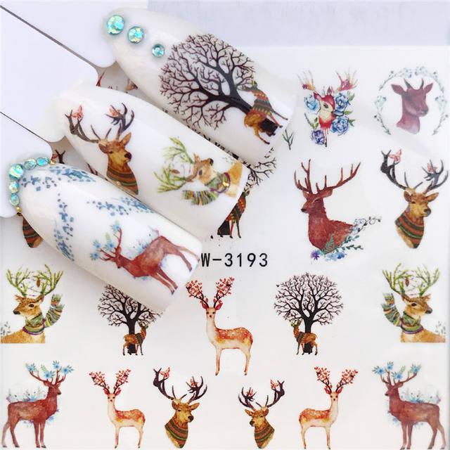 Water Decals Transfer Stickers Christmas Maple Leaf  Flower Water Slider Nail Art Sticker Tattoo Wraps Nails Accessories DIY Man