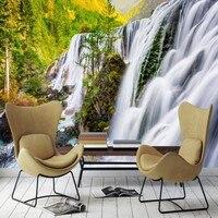 Dropship Wallpaper Green Beautiful Scenery Flowing Water Forest Wallpaper Bedroom Papier Peint Mural Home Improvement