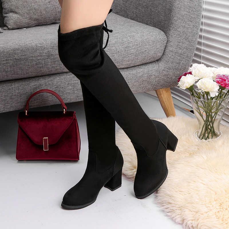Năm 2020 Thời Trang Giày Bốt Nữ Mùa Xuân Mùa Đông Trên Đầu Gối Gót Chất Lượng Da Lộn Dài Thoải Mái Vuông Botines Mujer Đùi Cao Cấp Giày
