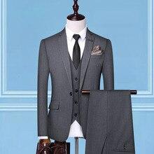 Dressv хаки 3 штуки черные обычные брюки костюм на одной пуговице для свадебной вечеринки формальный пиджак брюки мужские костюмы