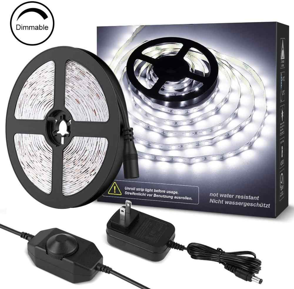 16.4ft 12V kit de bande LED réglable 300LED s SMD2835, lumière de corde Flexible pour la maison, sous le Cabinet, la chambre à coucher, le blanc de lumière du jour, etc.