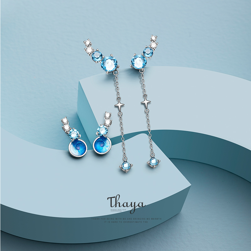 Thaya Nebula Zircon Earrings Original Design Stud Earrings S925 Sterling Silver Long Line Earring For Womem Fine Jewelry(China)