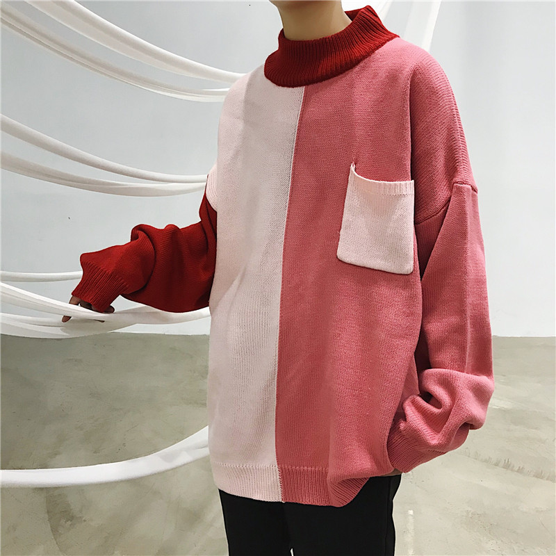 Winter Sweater Men Warm Fashion Contrast Color Casual Knit Sweater Man Streetwear Wild Loose Long-sleeved Pullover Male Clothes