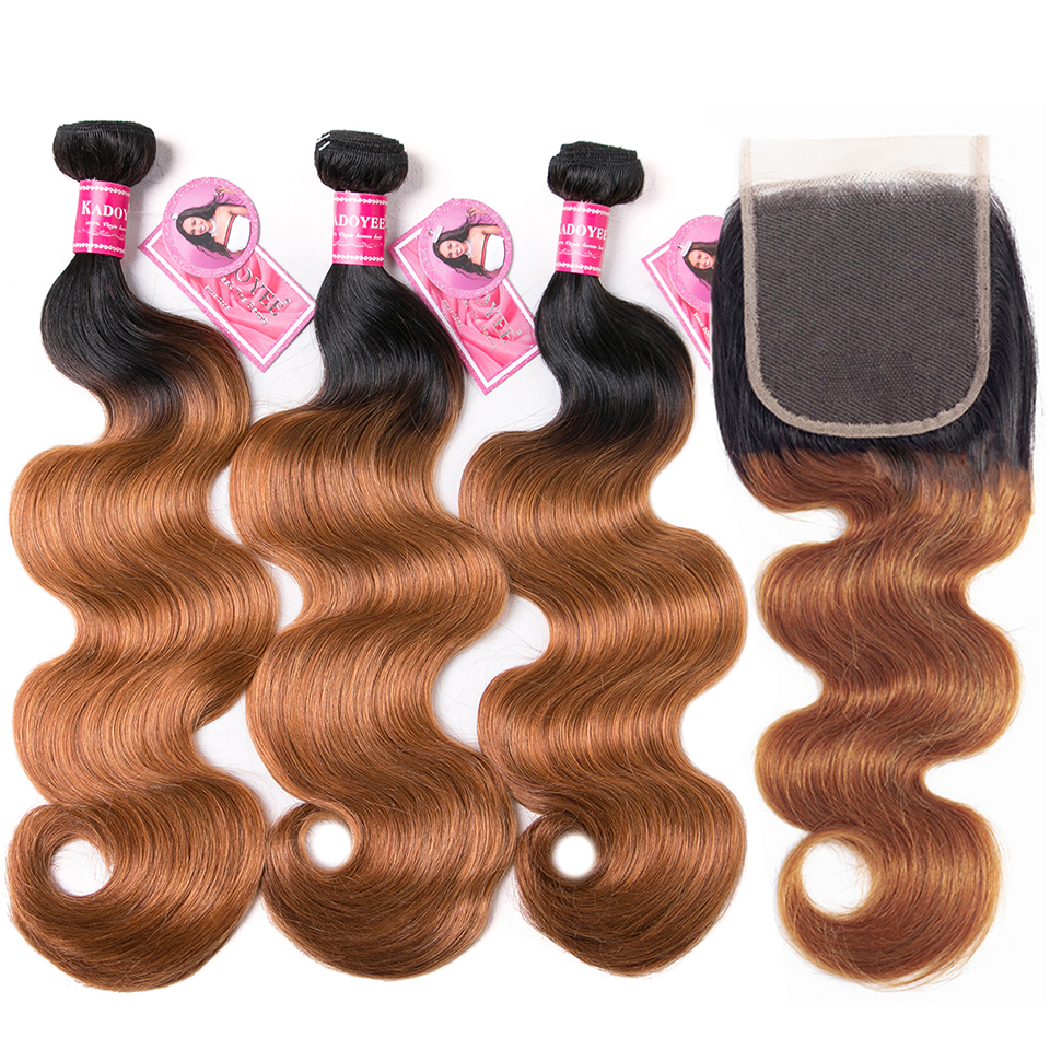"""Ombre Body Wave Human Hair Bundles With Closure 4pcs/lot Brazilian Hair Weave Bundles With Closure Remy Hair Extension 8"""" 26""""-in 3/4 Bundles with Closure from Hair Extensions & Wigs"""