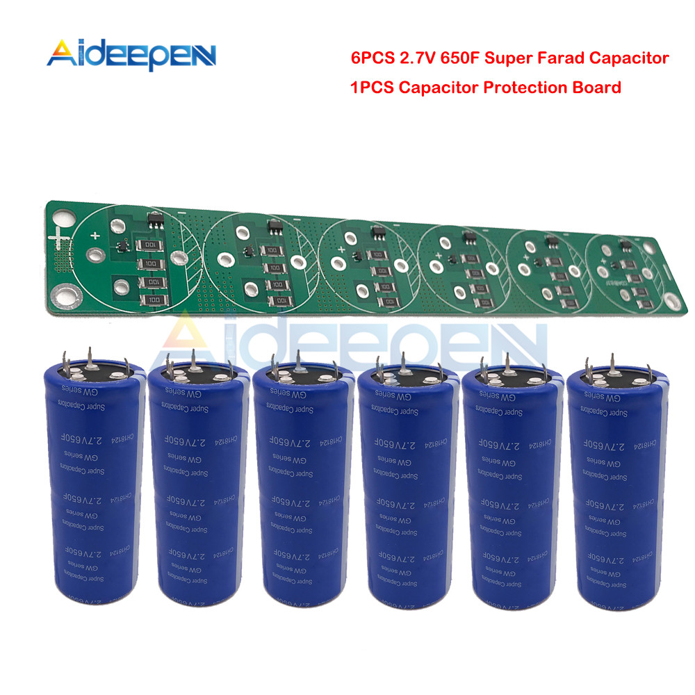 6PCS/Set Super Farad Capacitor 2.7V 650F 4 Pin 2.7V650F with Protection Board for Car Stereo Speaker Battery
