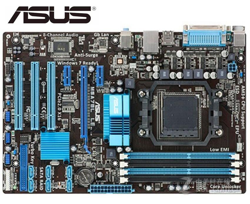 Asus M5A78L LE Original  Motherboard  DDR3 Socket AM3/AM3+ Support 32G RAM Mainboard PC