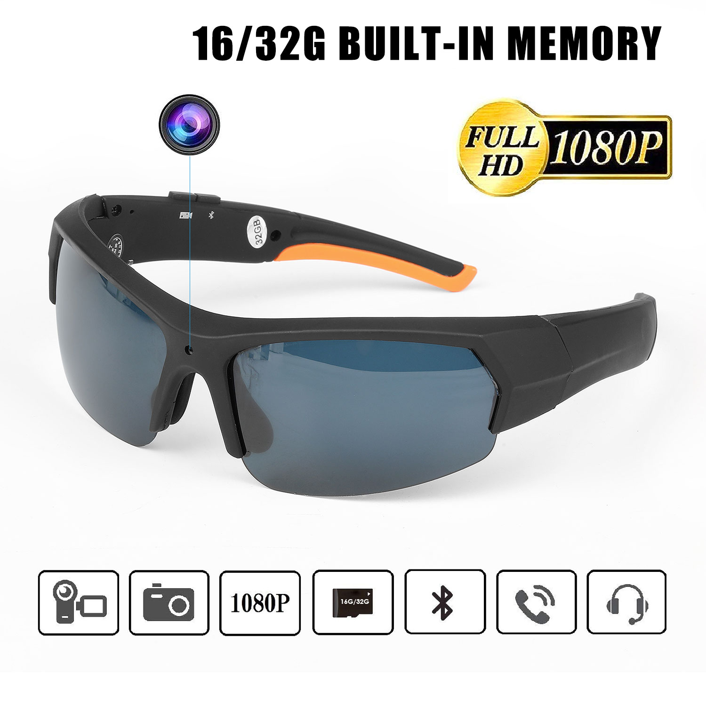ET HD1080P Sunglasses Camera Headset Smart Mini Camera Glasses Multifunctional Bluetooth MP3 Player Sports Accessories 16/32Gb