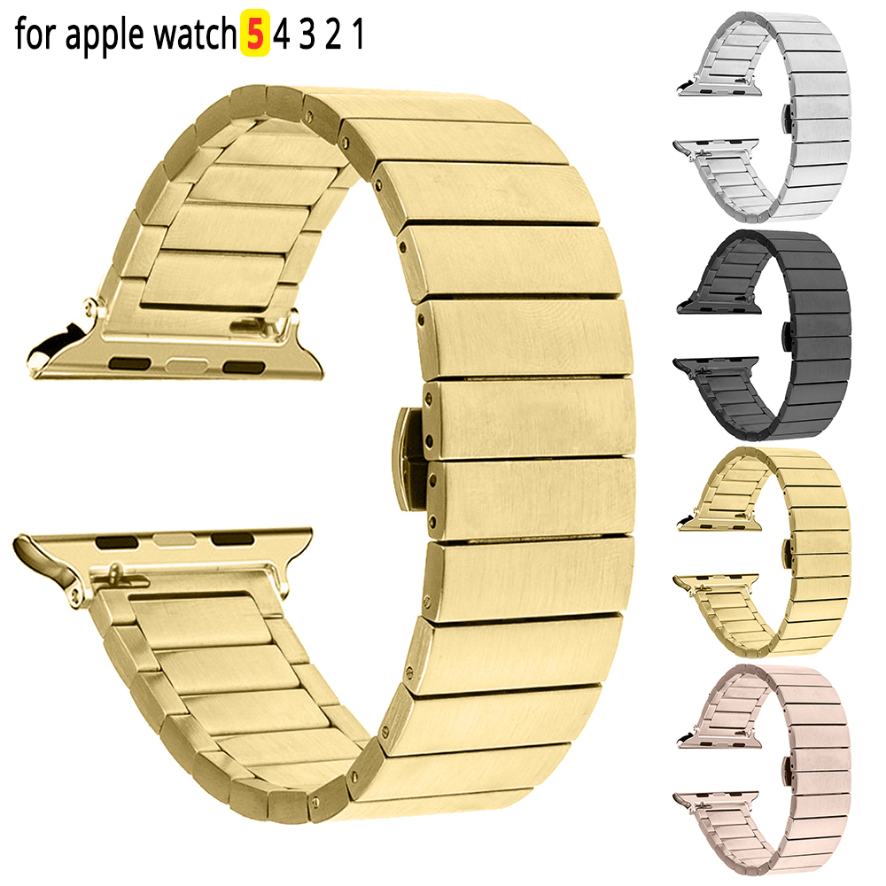 Stainless Steel Replacement Strap For Apple Watch 44mm Band Iwatch 5 4 Link Bracelet 40mm Smart Watch Accessories Loop 42mm 38mm