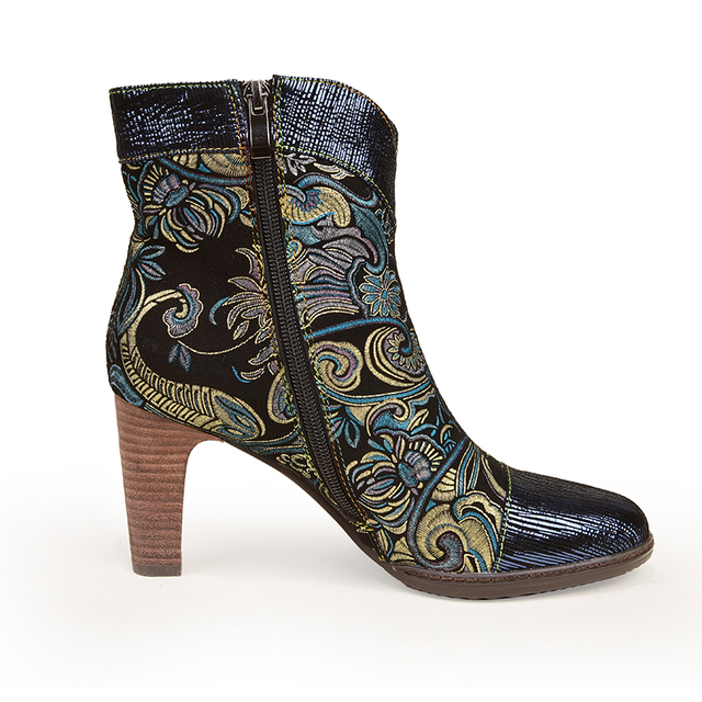 Women's High Heel Leather Ankle Booties