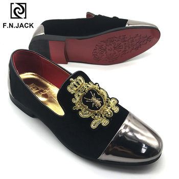F.N.JACK  Classic Black Velvet Men's Shoes Casual Rubber Loafers for Man with Vintage Decoration Man Big Size Shoes 46 47 48