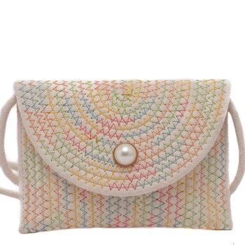 Elegant Women Shoulder Bag Summer Straw Bag Beach Bohemian Clutch Bags Female Crossbody Knitted Handbag Clutch Pearl Luxury Hasp