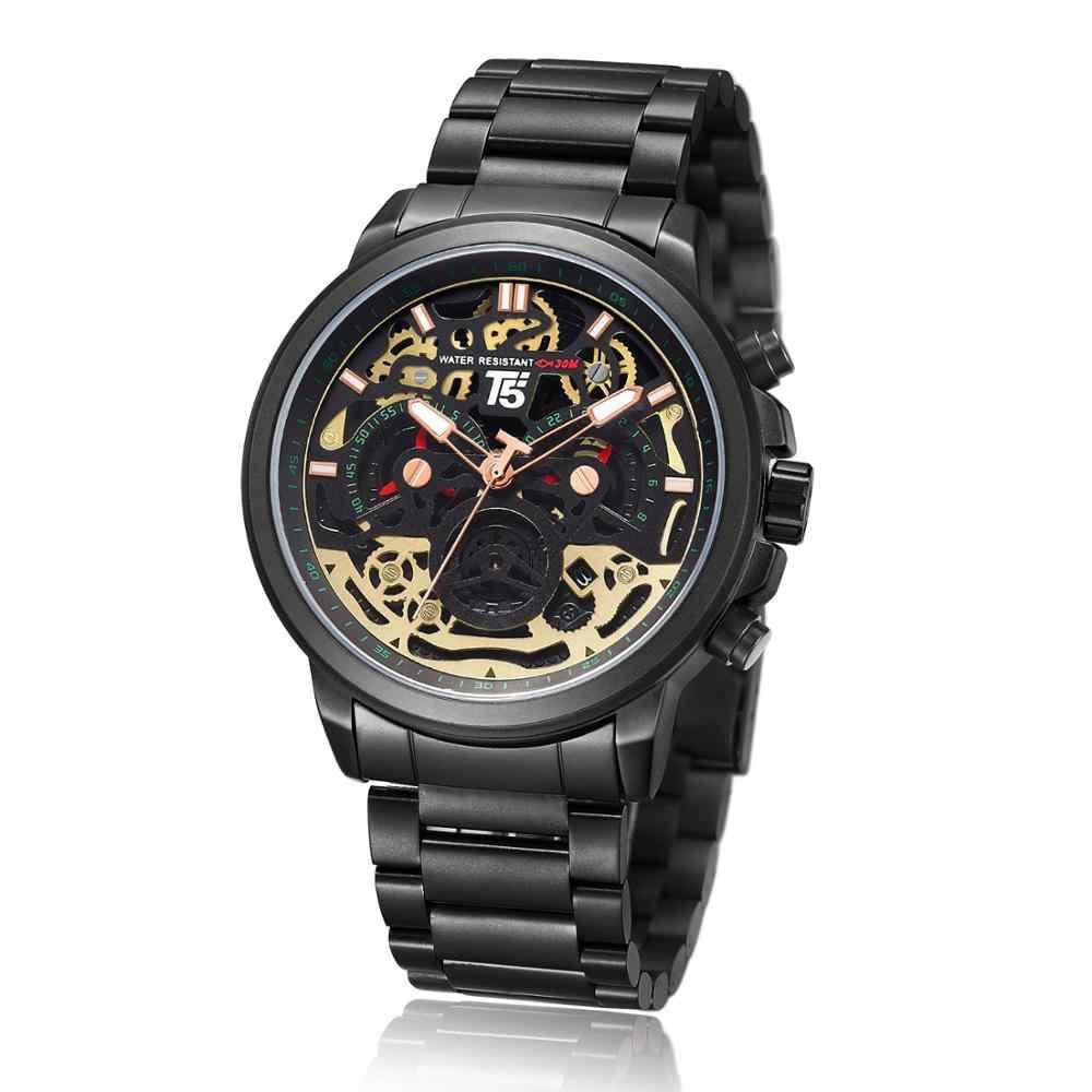 עור רצועת T5 יוקרה שחור זכר קוורץ הכרונוגרף Waterproof Mens ספורט גברים שעון שעונים שעוני יד גבר שעון