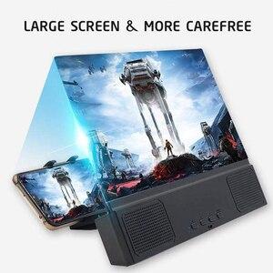 Image 2 - 12 인치 3d hd 전화 화면 돋보기 스마트 폰 확장기 홀더에 대 한 유선 스피커와 데스크탑 브래킷 영화 비디오 앰프