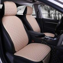 Tkaniny lniane pokrycie siedzenia samochodu uniwersalne akcesoria do poduszek samochodowych udekoruj osłony ochronne na przednie siedzenie samochodu