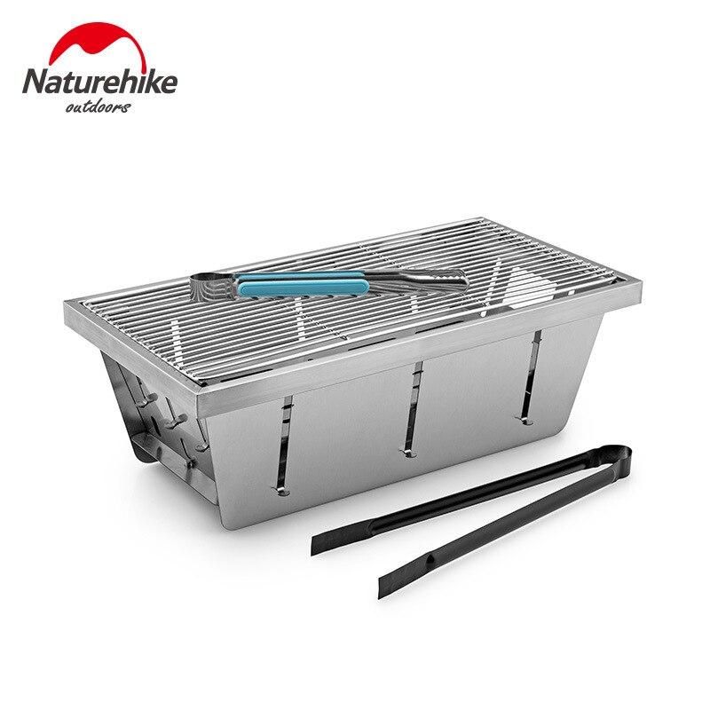 Naturerandonnée 2020 nouveau Barbecue pliant en plein air Mini Barbecue Grill ménage brochettes de charbon de bois poêle en plein air avec pince de carbone alimentaire