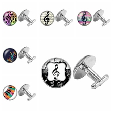 2019 New Music Notes Silver Cufflinks Gothic Lovers Glass Cabochon Mens To Send Gift Jewelry
