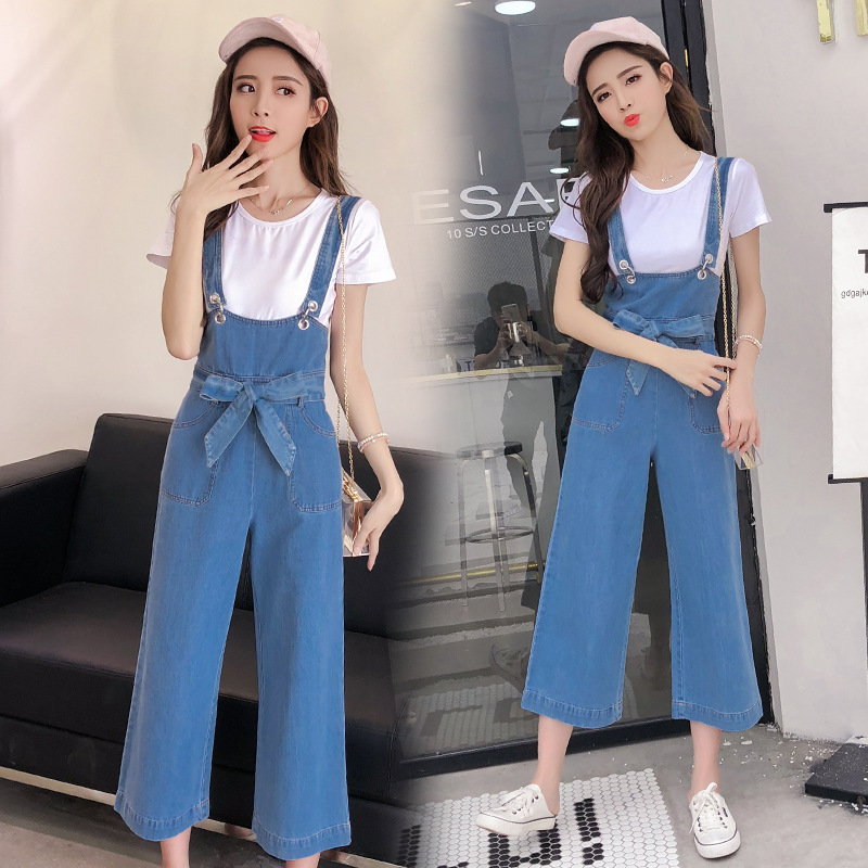 Photo Shoot 2019 Spring New Style Gogo Cowboy Suspender Pants Loose-Fit Korean-style Casual High-waisted Loose Pants