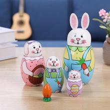 5 stücke Handgemachte Gemalt Set Spielzeug Kreative Nesting Dolls Wishing Russische Puppe Holz Russian Nesting Matryoshka Puppen Set Geschenke