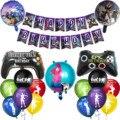 1 компл., игровой баннер Fortnition с воздушными шарами, альпака, геймпад для вечерние НКИ, латексные шары, флажки для детей и взрослых, украшение н...