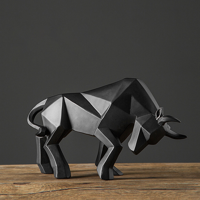 Bull Sculpture Abstract Geometric Bison Ox Resin Statue Office Decoration Home Art Animal Craft Ornament Accessories Kids Gift 6