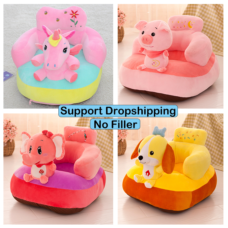 Cute Animals Baby Seats Sofa Skin For Infant Learn To Sit Baby Seat Support Chair Cover Toddler Nest Puff No Cotton Dropship
