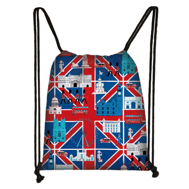 London Landscape / Eiffel Tower Oil Painting Drawstring Bag Casual Fashion Travel Bag Women Teenager Girl Backpack Easy To Carry