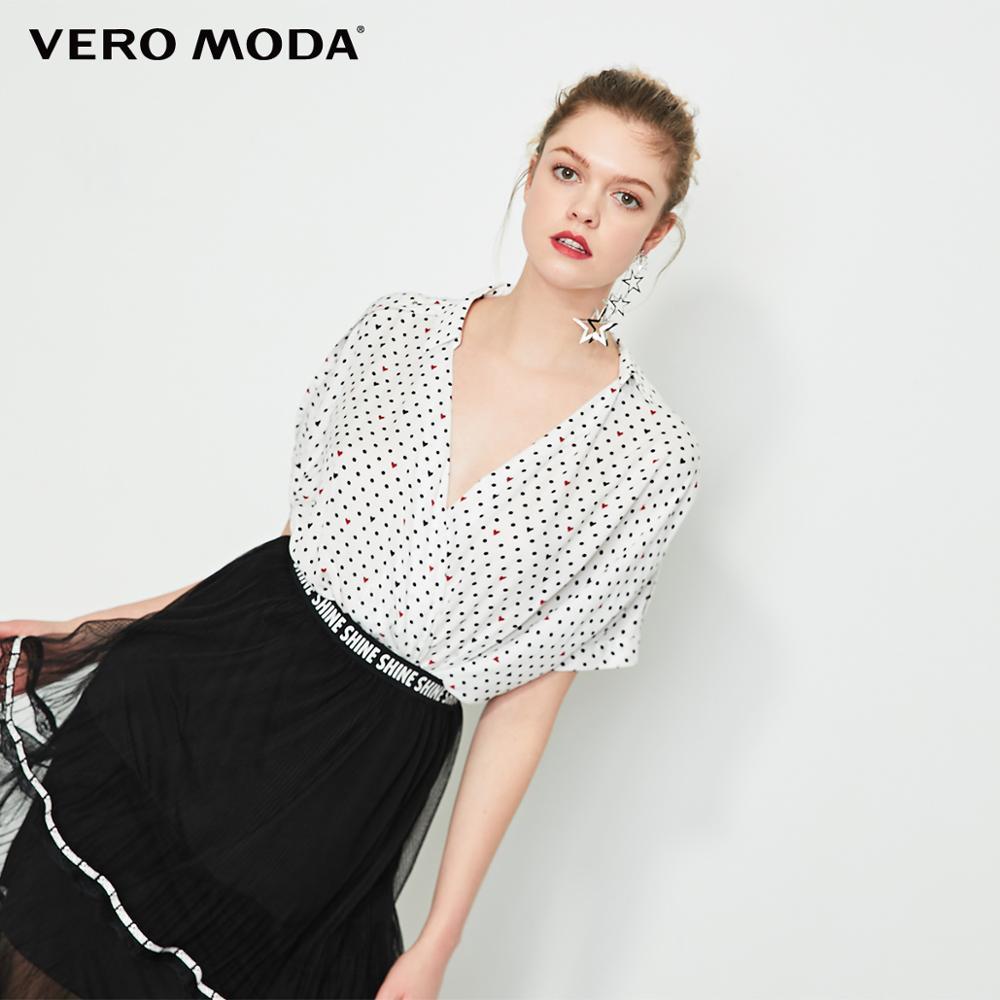 Vero Moda Women's Polka Dots Print Rivet Lapel Blouse   319241508