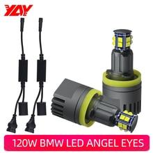 120W For BMW Angel Eyes E60 E61 E63 E64 E70 X5 E71 X6 E82 E87 E89 Z4 E90 E91 M3 LED CANBUS light Headlight Lamp Blue white h8 20wx2 led angel eye halo light marker for bmw e60 e61 e63 e64 e70 x5 e71 x6 e82 e87 e89 z4 e90 e91 e92 e93