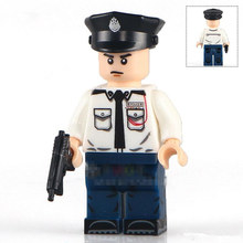Single Sale White Uniform Policeman avengers star war Minifig Assemble Model DIY 3D Building Blocks Kids Gifts Toys(China)