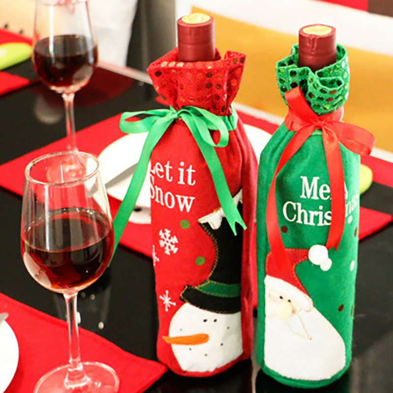 Wine Bottle Cover Bag Christmas Bag Holder Table Ornament Party Banquet Decorations Santa Claus Sequins Red Wine Bottle Bag