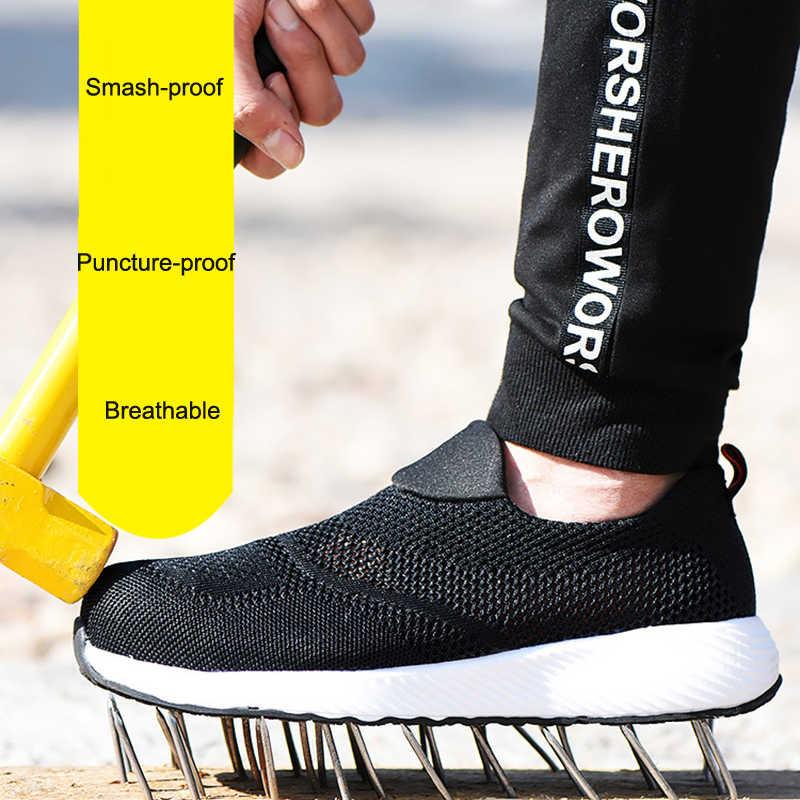 Zomer Lichtgewicht Stalen Neus Mannen Vrouwen Werk & Veiligheid Laarzen Ademend Mannelijke Vrouwelijke Schoenen Zapatos De Hombre Plus Size 46