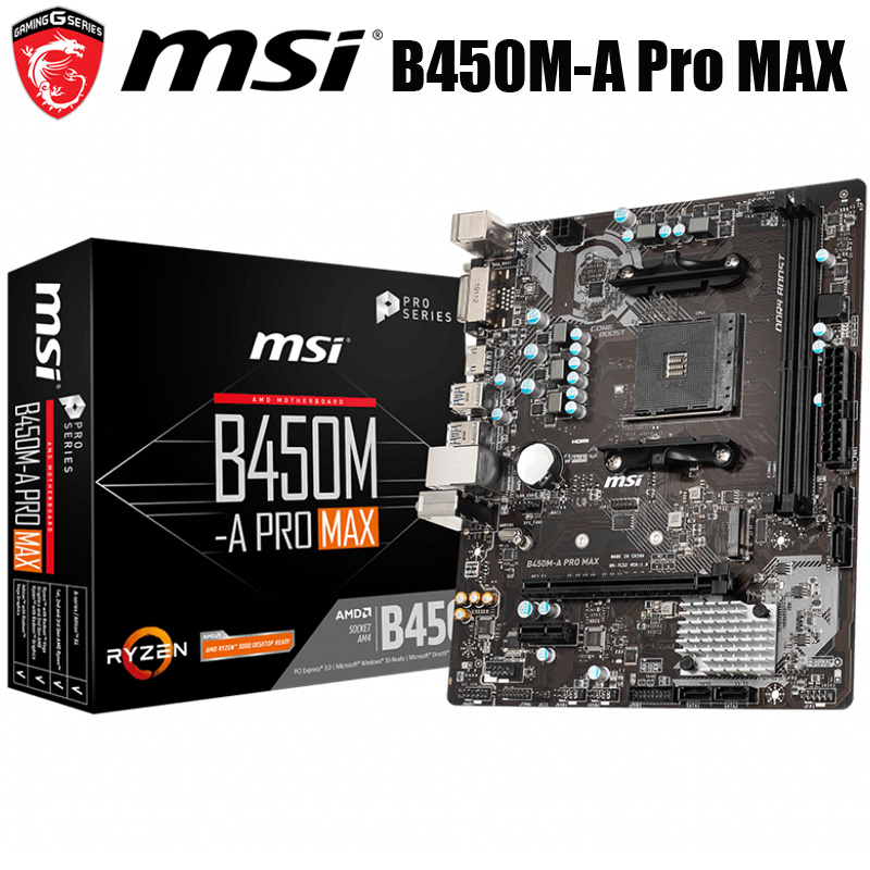 NEW MSI B450M A PRO MAX Motherboard Socket AM4 DDR4 AMD Ryzen 32GB AMD B450 Desktop MSI B450 Mainboard B450 M.2 PCI E 3.0 AM4|Motherboards| - AliExpress