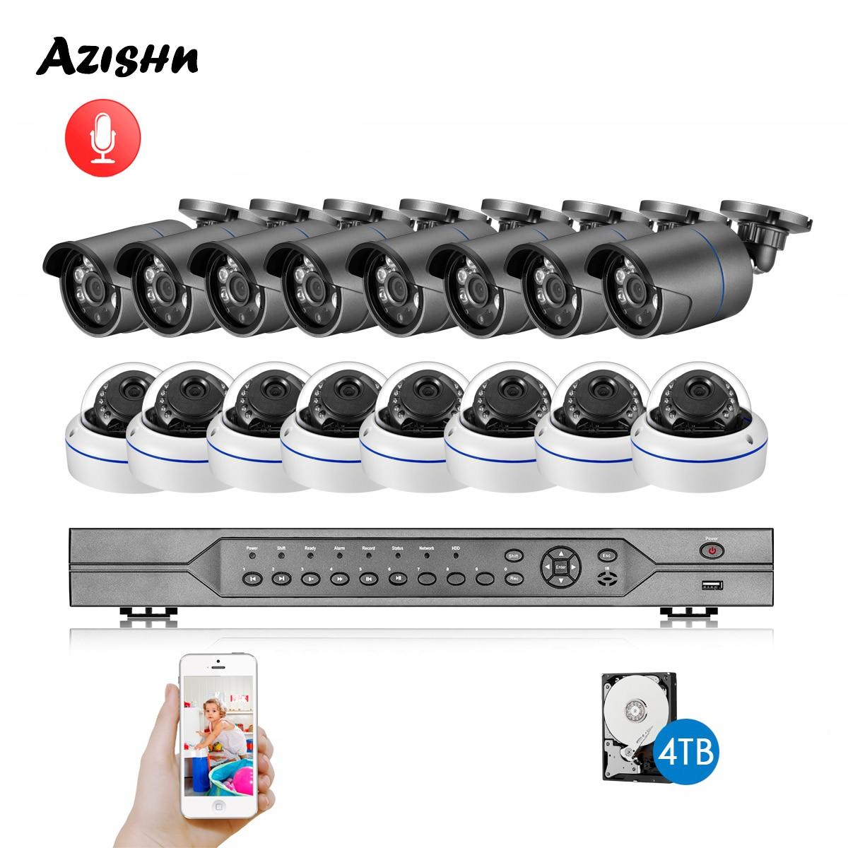 AZISHN H.265 16CH 4MP NVR POE sistema de seguridad CCTV 16 Uds IR al aire libre 4MP grabación de Audio IP Cámara P2P Kit de videovigilancia 4TB Sistema de alarma de casa, intercomunicador con alarma Wifi GSM, Control remoto, Autodial, detectores de 433MHz, IOS, Android, Tuya, teclado táctil con Control de aplicación