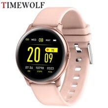 Timewolf relógio inteligente feminino à prova dip68 água ip68 smartwatch remoto música/foto pressão arterial relógio inteligente para apple iphone android