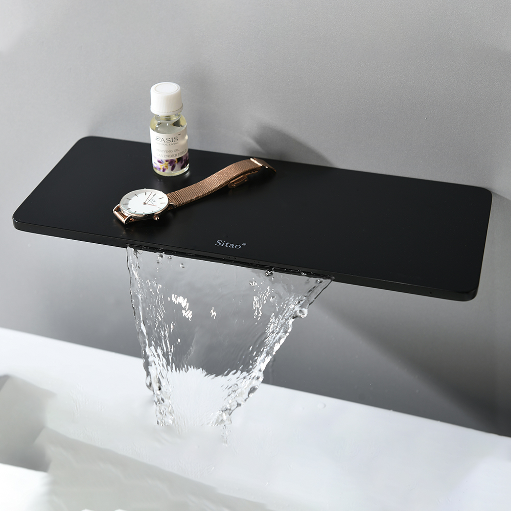 Smesiteli Waterfall Brass Matte Black Wall Mounted Hot and cold water Bathroom Bathtub Basin Faucet