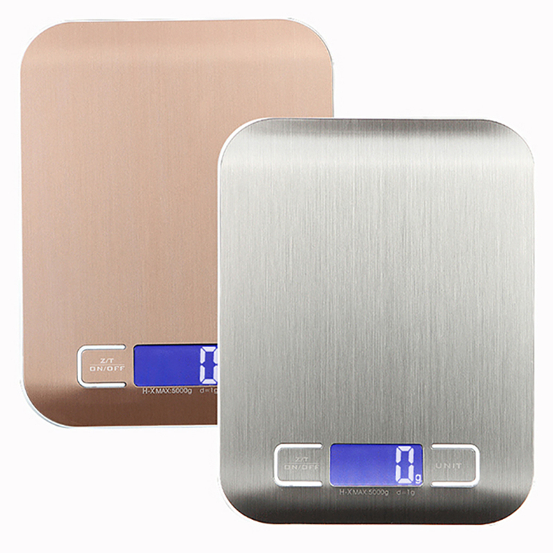 11 LB / 5000g Electronic Kitchen Scale Stainless Steel Digital Food Scale Weighing Scale LCD High Precision Measuring Tools