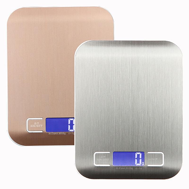 11 LB/5000g báscula electrónica de cocina de acero inoxidable báscula Digital de alimentos balanza LCD herramientas de medición de alta precisión