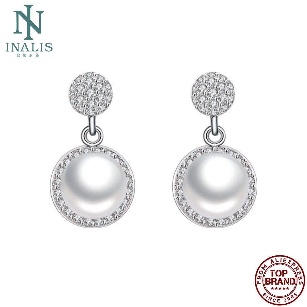 INALIS Women Earrings Trendy Style Inlay Imitation Pearl Drop Earring Minimalist Engagement Fashion Jewelry For Girlfriend Gift