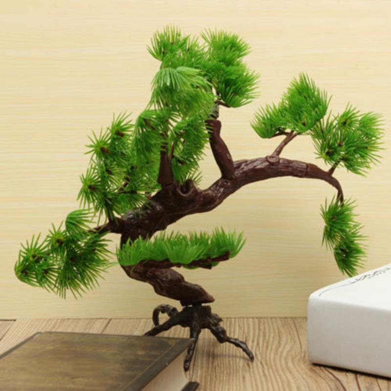 Artificial Plastic Bonsai Pine Tree Aquarium Bonsai Ornament Fish Tank Artificial Pine Tree Plant Decor Aquarium Accessories(China)