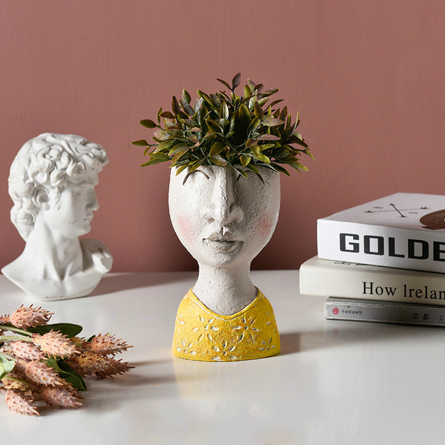 Art portrait sculpture flower pot Nordic Creative dried flower arrangement vase Home Garden decoration Flower Planter Bonsai Pot 4