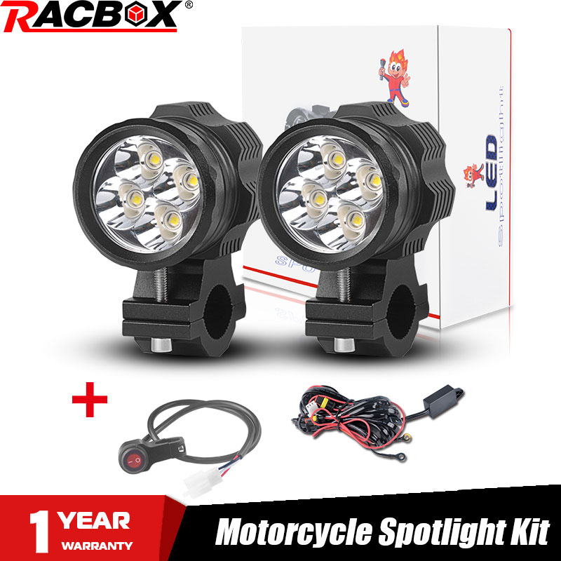 2pcs Led Motorcycle Headlight Spotlight Kit Motorbike Driving Lamp 40W White 6000K Super Bright 4led Chips 4000Lm Waterproof 12V