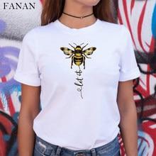 2020 nova Mulheres T-shirt Tipo de Abelha Estética Gráfico de Manga Curta Harajuku Camiseta Feminina Camisetas Mujer Branco Encabeça Roupas Tees